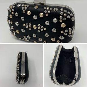 Express black leather studded clutch